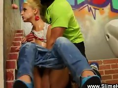 Blondy gets raided at the glory hole
