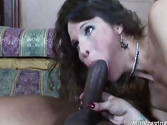 Hot MILF feels a black cock enter her from be