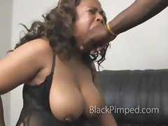 Black on black very rough blowjob of a bbw with nice tits