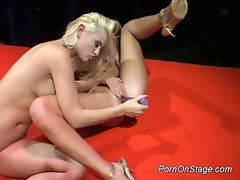 Two hot lesbian babes pump up some nice hot plastic dick
