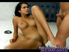 Daisy Marie is a petite skinny chick who gets fucked by her trainer in the locker room