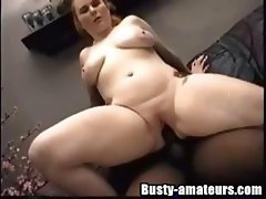 Chubby busty Fiona gets her favorite boy toy in a big black cock