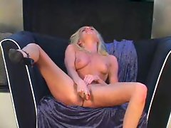 Bigboobed brunette Tall Goddess masturbated herself with a huge toy