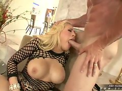 Hot Kagney Karter stuffs her sweet mouth with a massive hard dick