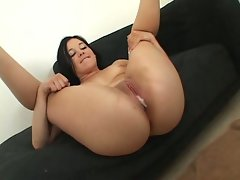 Slutbag Amy Starz lets man seed drip from her pink pussylips