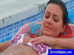 Fondling and rubbing her body all over is just the beginning of her pool sexcapade