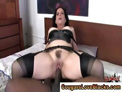 Mature couger interracial fuck and facial