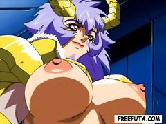 Busty hentai she-male demon fucks a young pink-haired cutie