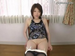 Pretty Japanese Teen shows off shaved pussy