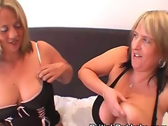 Large boobed housewives in stockings drain several cocks