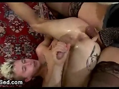 Tranny hottie fucks blond guy madly