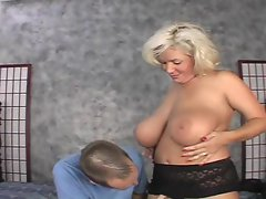Claudia Marie takes her huge breasts to task when she is pummeled
