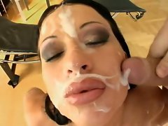 Cony Ferrara having fun while guy's shower her with their cum