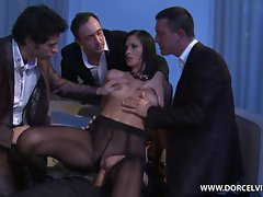 Claire Castel is fully filled by a trio of cocks