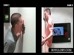 Straight guy gest gay blowjob on gloryhole