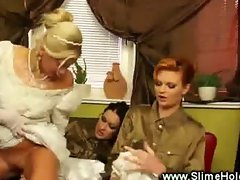 Two female soldiers fuck their bride