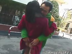 Asian slut gets fingered in public place part6
