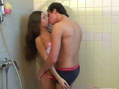 Horny teen fondling herself in bathroom gets a playmate