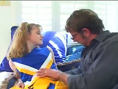 Cute cheerleader fucked by a geek