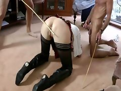 Mature wearing uniform gets spanked
