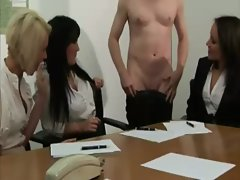 CFNM office babes audition his hard cock