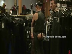 Men in shop walk around gay prey