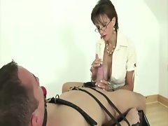 Landy sonia dominates poor guy but he gets a handjob out of it