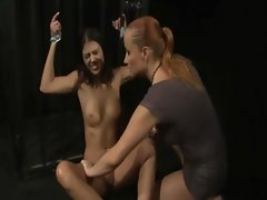 Lezdom bonded slave gets pussy pegged