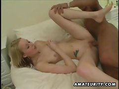 Amateur girlfriend homemade interracial action with black cock and cumshot