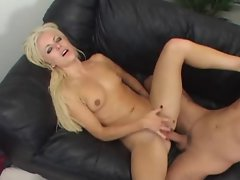 Petite blonde girl nailed by a really big cock