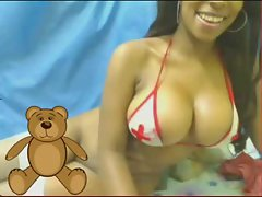 Huge titties on a black girl on webcam