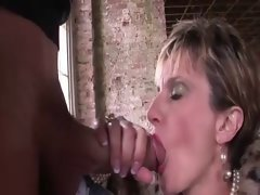 One mature lady fucked by guy outdoors on staircase