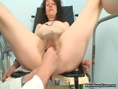 Horny and hairy grandma gets her pussy