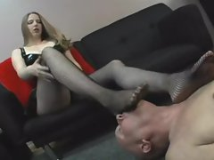 Dominant girl wants him to lick her feet