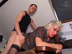 Young man bangs granny for his pleasure