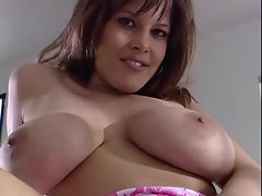 Busty gal rubs clit during hardcore fuck scene