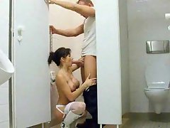 Girl in sexy stockings fucked in toilet
