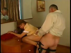 Sexy maid fucked by the old man