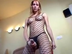 Shemale Solo in Fishnets
