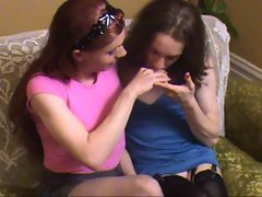 Two Crossdressers Kissing
