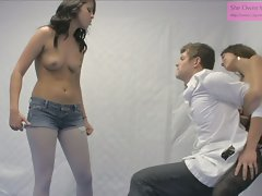 Intense Ballbusting from two Hot Chicks