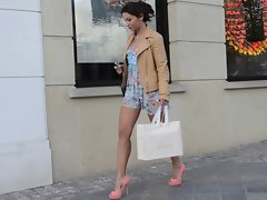 Teen shopping public in high heels &, dress (+upskirt)