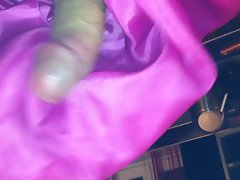 handjob with pink dress satin lining