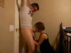 Horny Pregnant Wife Sucking Off Her Blindfolded Husband