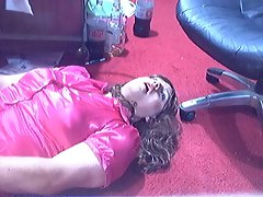 Cummiing on my face in PVC skirt and satin blouse