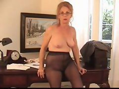 Hairy Bossy Granny in Pantyhose