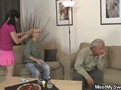 GF have fun with her BF&,#039,s mom and dad