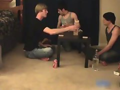 Great lewd gay teenagers having a game party gay fellows