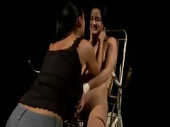 Mean domina overpowers bonded slave