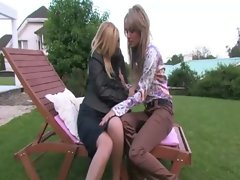 Glam euro lesbos outdoors